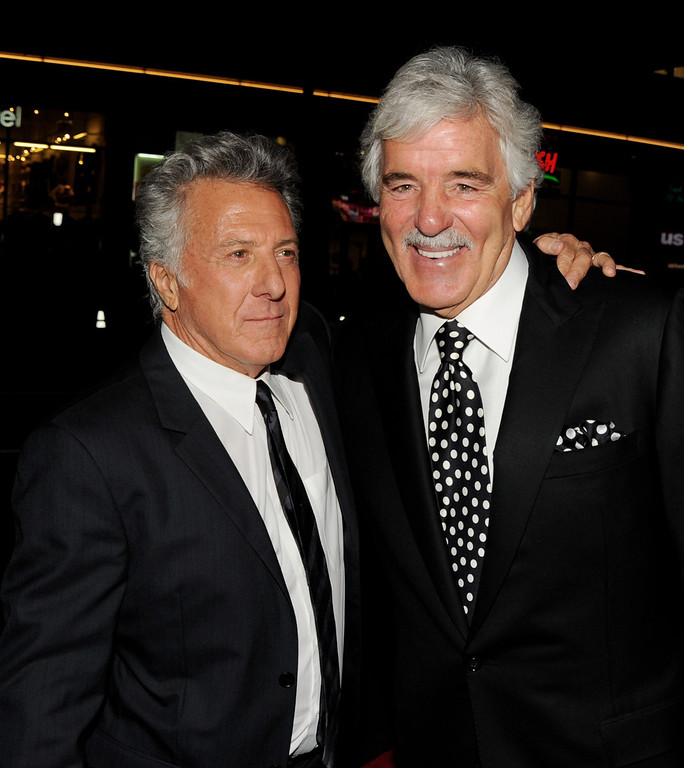 """. Producer/actor Dustin Hoffman (L) and actor Dennis Farina arrive at the premiere of HBO\'s \""""Luck\"""" at the Chinese Theater on January 25, 2012 in Los Angeles, California.  (Photo by Kevin Winter/Getty Images)"""