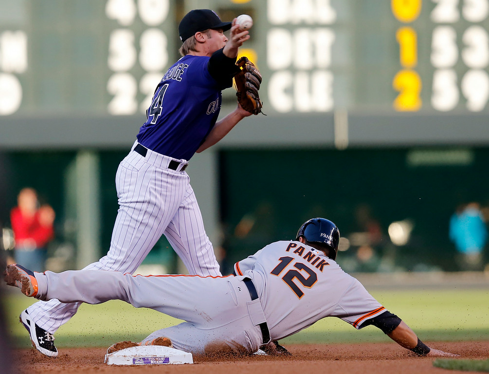 . San Francisco Giants\' Joe Panik (12) is forced out at second as Colorado Rockies shortstop Josh Rutledge throws to first to complete the double play on Pablo Sandoval during the first inning of a baseball game Tuesday, Sept. 2, 2014, in Denver. (AP Photo/Jack Dempsey)