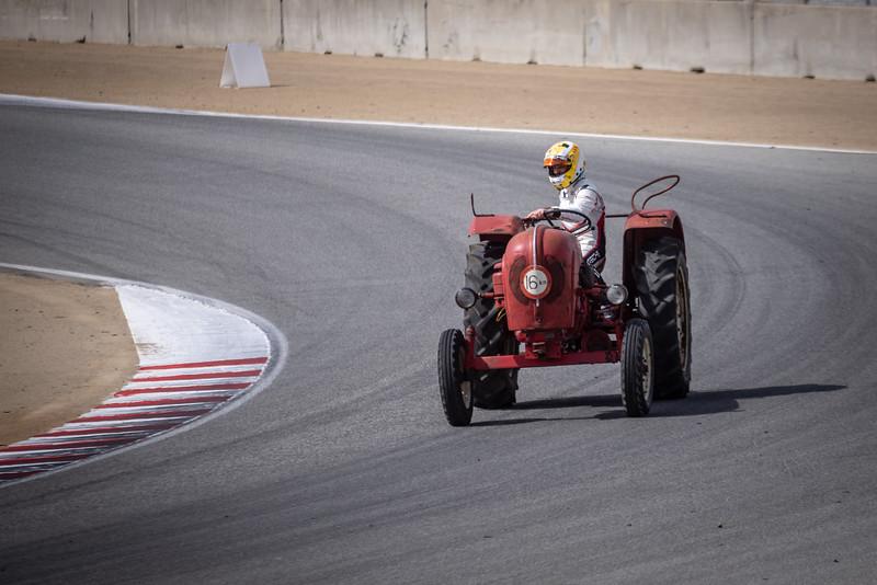 Earl Bamber on a Porsche tractor.