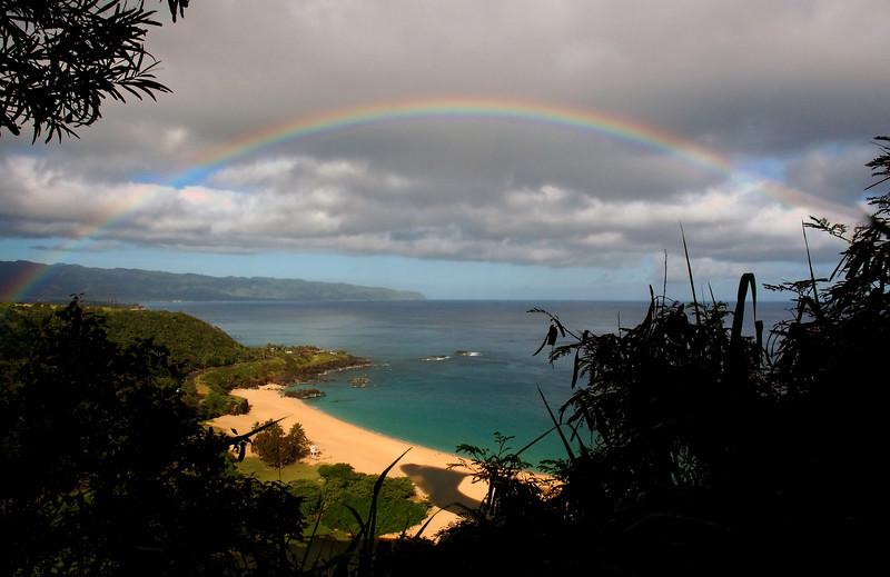Rainbow over Waimea Bay North Shore of O'ahu, Hawai'i