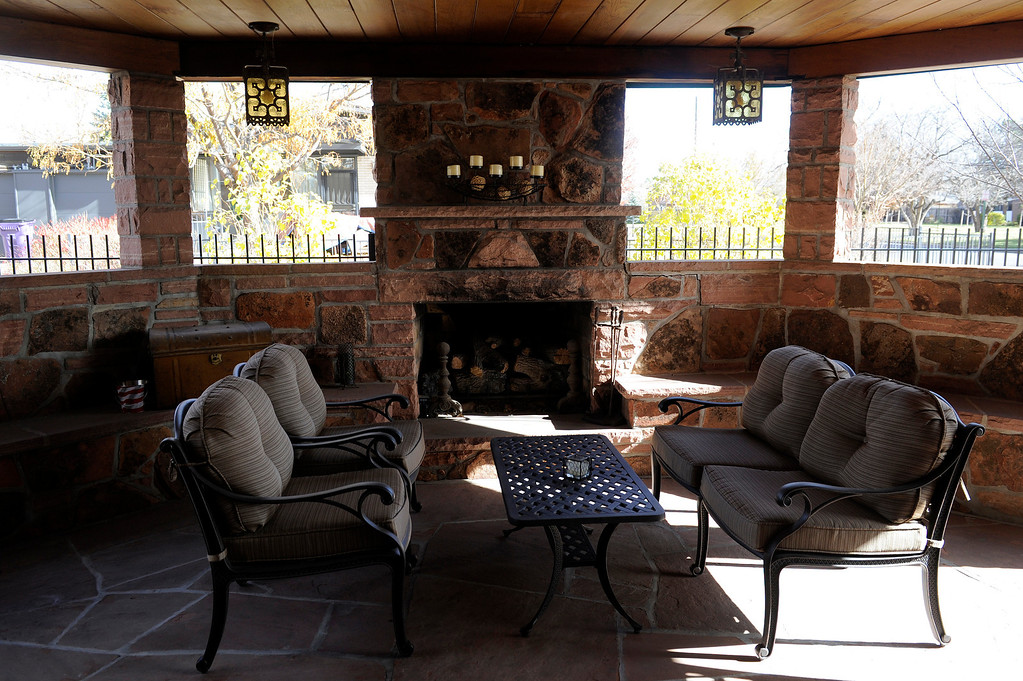 ". DENVER, CO - NOVEMBER 13: The backyard patio of the Spicer residence on November 13, 2013, in Denver, Colorado. While Jeannine Spicer and June Eshelman completely demolished the interior of the house, they remained dedicated to maintaining the original architectural characteristics of the outside. The house won a 2013 Mayor\'s Design Award in the ""It Just Fits\"" category. (Photo by Anya Semenoff/YourHub)"