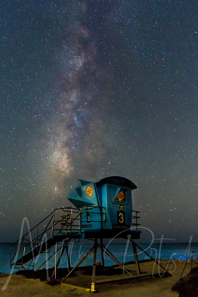 Leo Cabrillo beach, Malibu - No Lifeguard on Duty - check out the bioluminescent phytoplankton in the lower right