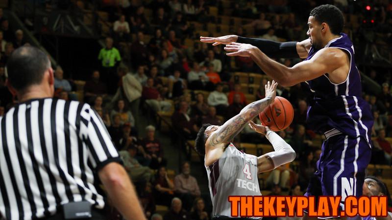 Seth Allen (4) gets a shot blocked by Joey Van Zegeren. (Mark Umansky/TheKeyPlay.com)