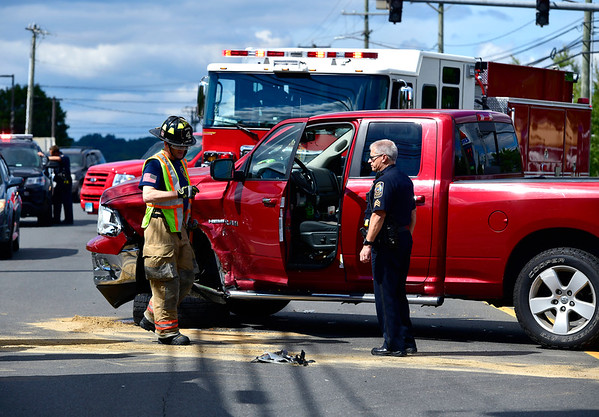 9/13/2019 Mike Orazzi | StaffrThe scene of a two-vehicle crash at the intersection of Middle and Cross Streets in Bristol Friday afternoon. One was transported from the scene with non-life threatening injuries.