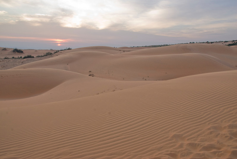 The white sand dune formation during dusk - Mui Ne, Vietnam
