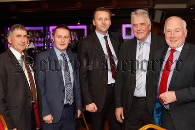 Cllr Harold McKee; Cllr David Taylor, Cllr Sam Nicholson, Jim Nicholson, MEP and Cllr Jim Speers, at the County Armagh Ulster Farmers' Union Annual Dinner in Newry. Photograph: Columba O'Hare