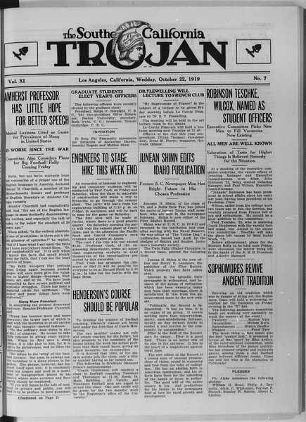 The Southern California Trojan, Vol. 11, No. 7, October 22, 1919