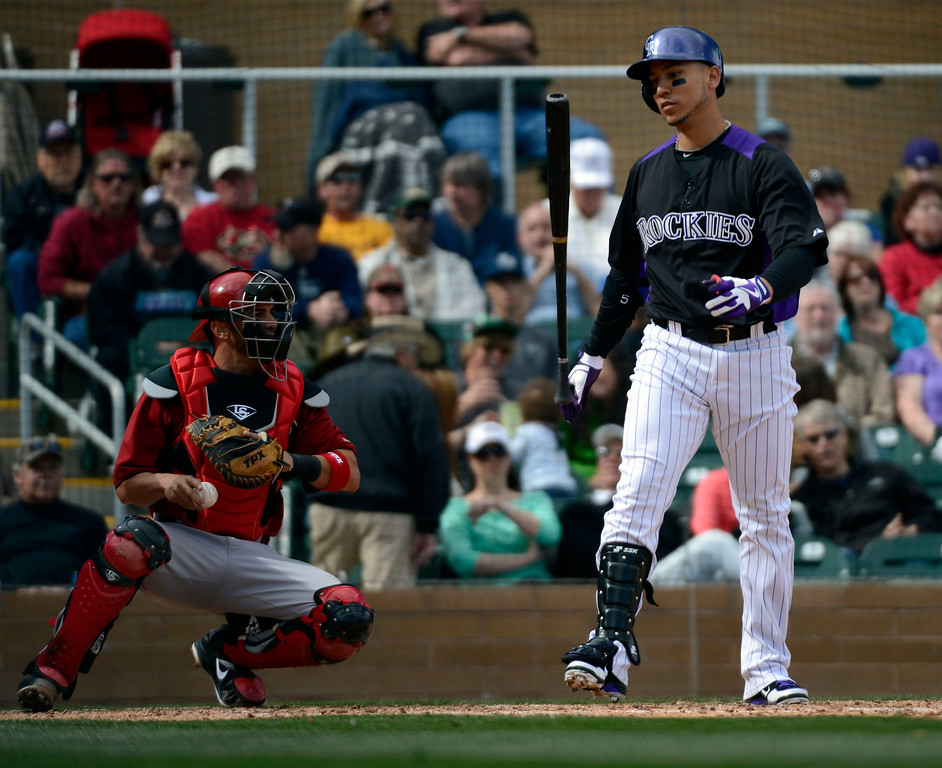 . SCOTTSDALE, AZ. - FEBRUARY 24: Carlos Gonzalez (5) of the Colorado Rockies flips his bat after a big swing in the fourth inning against the Arizona Diamondbacks February 24, 2013 in Scottsdale. (Photo By John Leyba/The Denver Post)