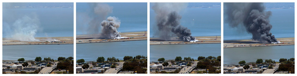 . This combination of photos provided by Dawn Siadatan shows Asiana Airlines flight 214  just moments after crashing at the San Francisco International Airport in San Francisco, Saturday, July 6, 2013. The Asiana Airlines Boeing 777 crashed while landing after a likely 10-hour-plus flight from Seoul, South Korea. The flight originated in Shanghai and stopped in Seoul before the long trek to San Francisco.  (AP Photo/Dawn Siadatan)