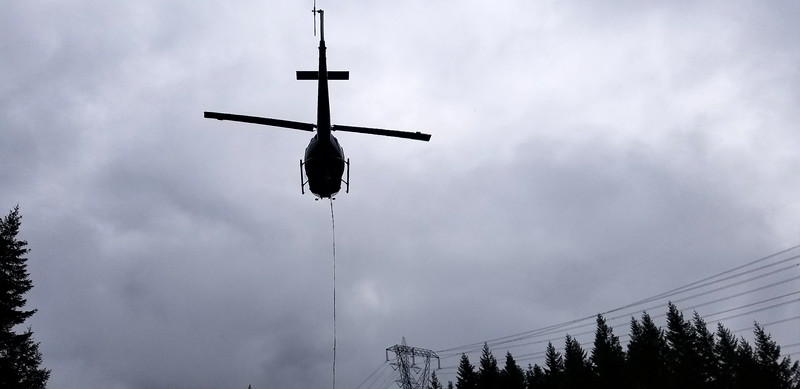 There was a helicopter near where we started our trip - it was doing helicopter logging - this was when it took off