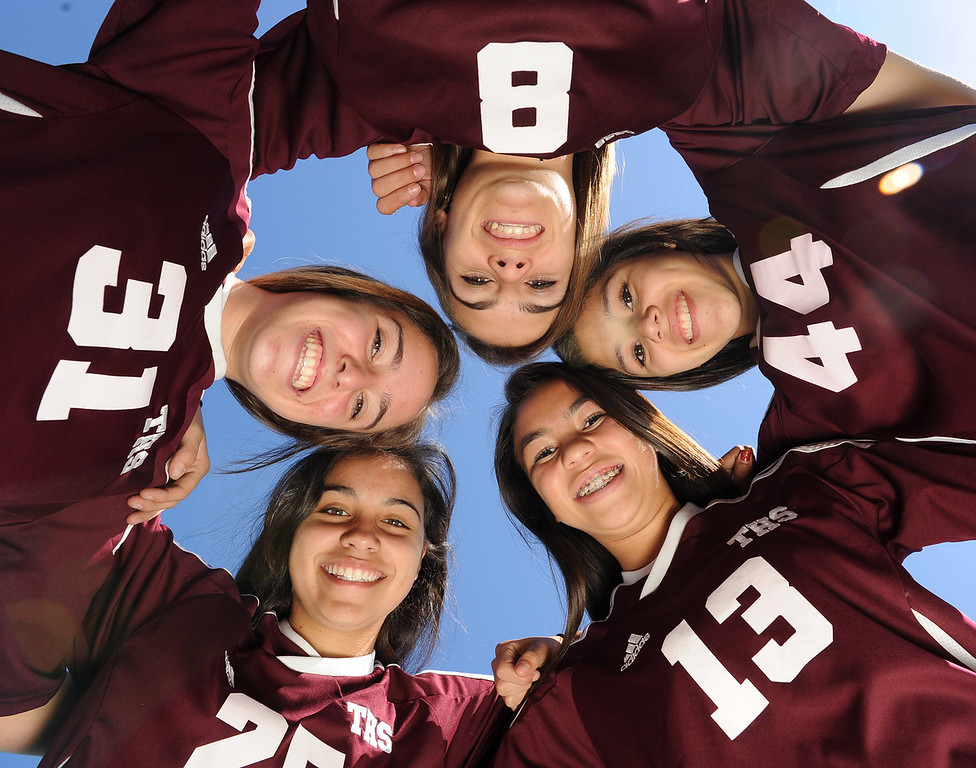 . Torrance High School soccer standouts, clockwise from top: #8 Kaitlyn Johnson, #44 Mia Ramirez, #13 Kealani Tiratira, #25 Allison Arriola and #31 Brianna Brown. Photo by Brad Graverson 2-11-13