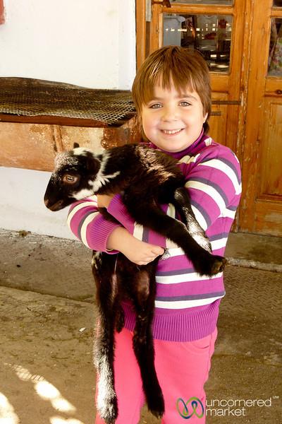 Girl with Pet Lamb - Crete