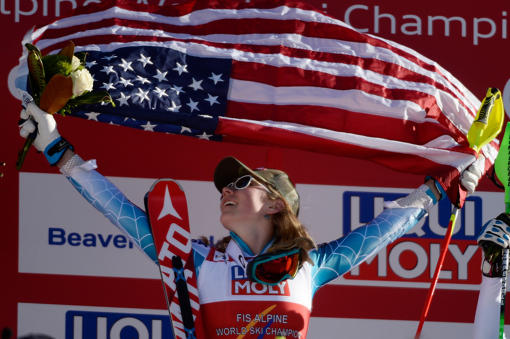 . Mikaela Shiffrin celebrates her win after the ladies\' slalom. FIS Alpine World Ski Championships 2015 on Saturday, February 14, 2015. (Photo by AAron Ontiveroz/The Denver Post)