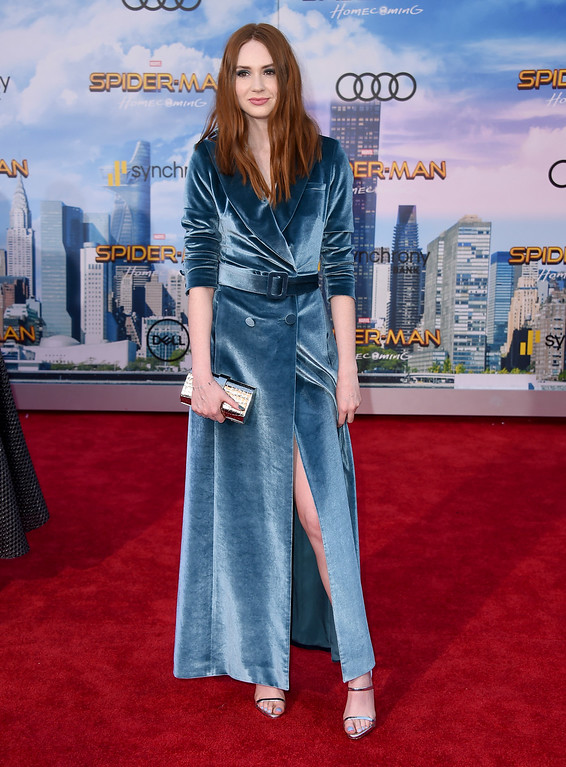 """. Karen Gillan arrives at the Los Angeles premiere of \""""Spider-Man: Homecoming\"""" at the TCL Chinese Theatre on Wednesday, June 28, 2017. (Photo by Jordan Strauss/Invision/AP)"""