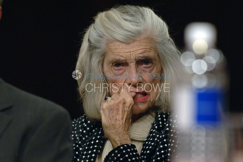 Eunice Schriver listens to the Supreme Court confirmation hearing of Samuel Alito.