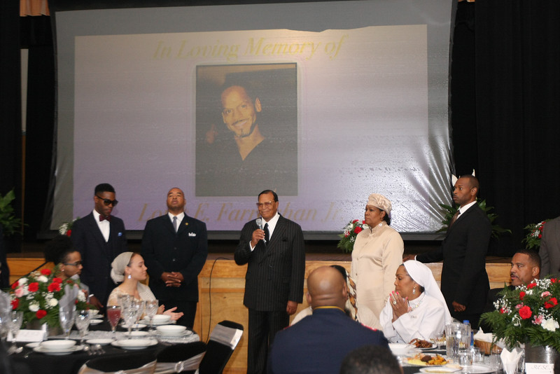 The Honorable Minister Louis Farrakhan speaks at repast which was also an iftar (breaking of Ramadan fast) in the gymnasium of Muhammad University of Islam. The Minister thanked the many supporters and friends who gathered to pay tribute to his eldest son, Louis Farrakhan, Jr., Min. Farrakhan's daughter, Fatima (standing at right) and family members look on. Bottom: Series of photos of Louis Farrakhan, Jr., with members of his family.