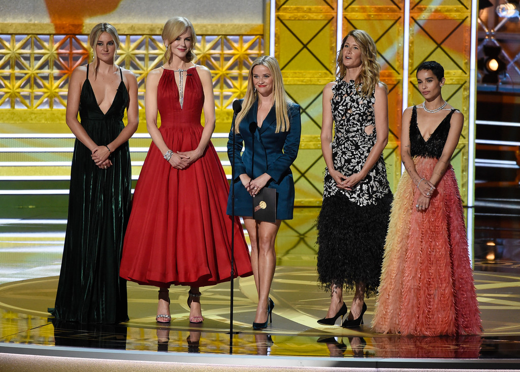. Shailene Woodley, from left, Nicole Kidman, Reese Witherspoon, Laura Dern and Zoe Kravitz present the award for outstanding supporting actress in a drama series at the 69th Primetime Emmy Awards on Sunday, Sept. 17, 2017, at the Microsoft Theater in Los Angeles. (Photo by Chris Pizzello/Invision/AP)
