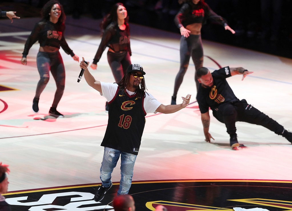 . Lil John perform during halftime of Game 4 of basketball\'s NBA Finals between the Cleveland Cavaliers and the Golden State Warriors, Friday, June 8, 2018, in Cleveland. (AP Photo/Carlos Osorio)