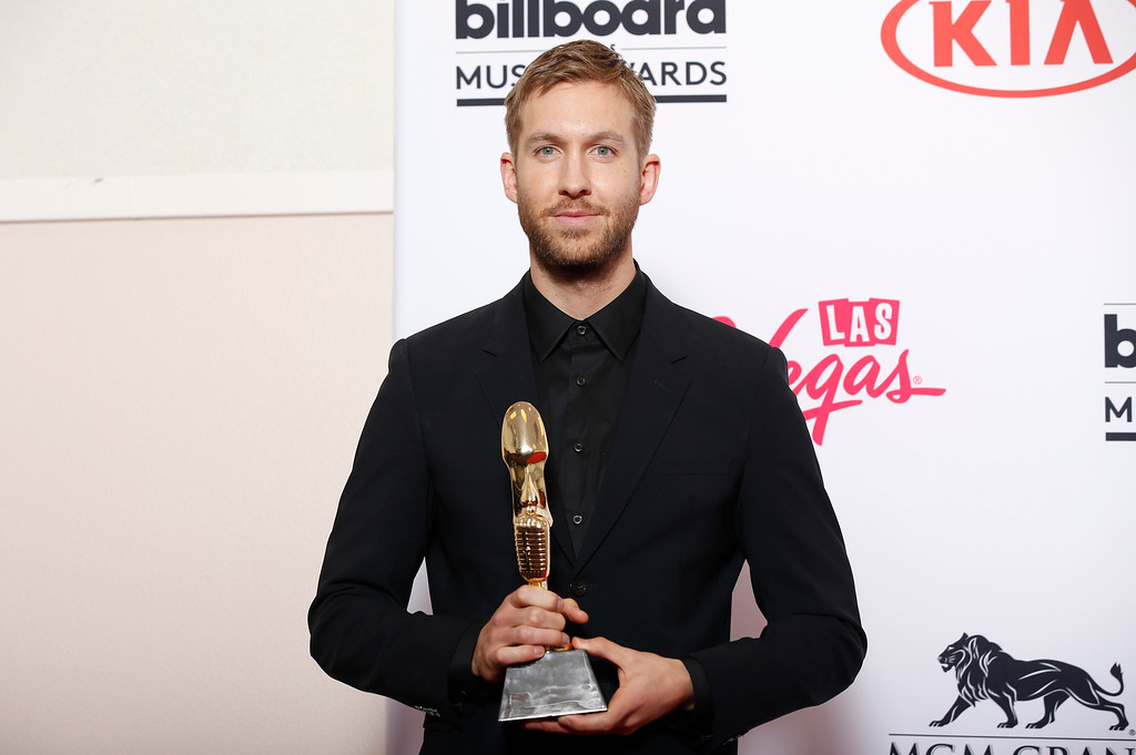 . Calvin Harris poses in the press room with the award for top dance/electronic artist at the Billboard Music Awards at the MGM Grand Garden Arena on Sunday, May 17, 2015, in Las Vegas. (Photo by Eric Jamison/Invision/AP)