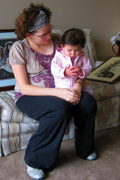 Julia (250 days old) and her aunt Sherie have a serious talk