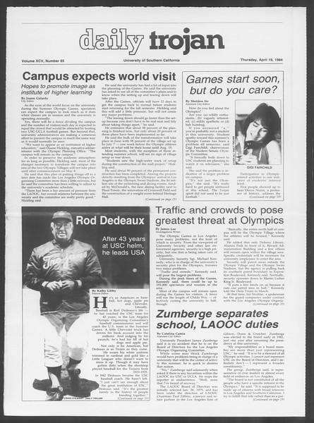 Daily Trojan, Vol. 95, No. 65, April 19, 1984