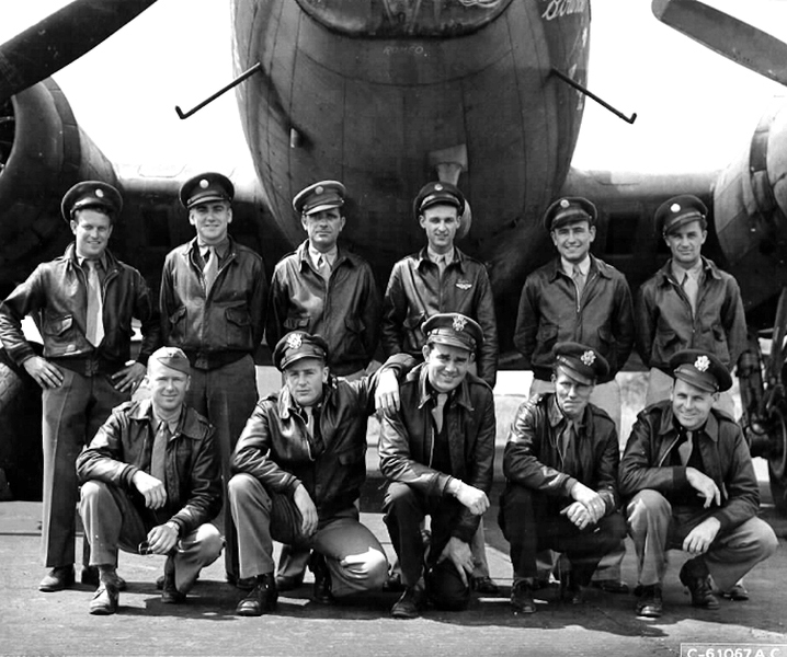 "(Bottom right) Martin ""Pete' Clark, U.S. Air Force 1st lieutenant, grandfather to Cliff Ellis.  Clark was a 303rd Bomb Group B-17 co-pilot/pilot, Hell's Angels, with 25 combat missions in Europe during World War II."