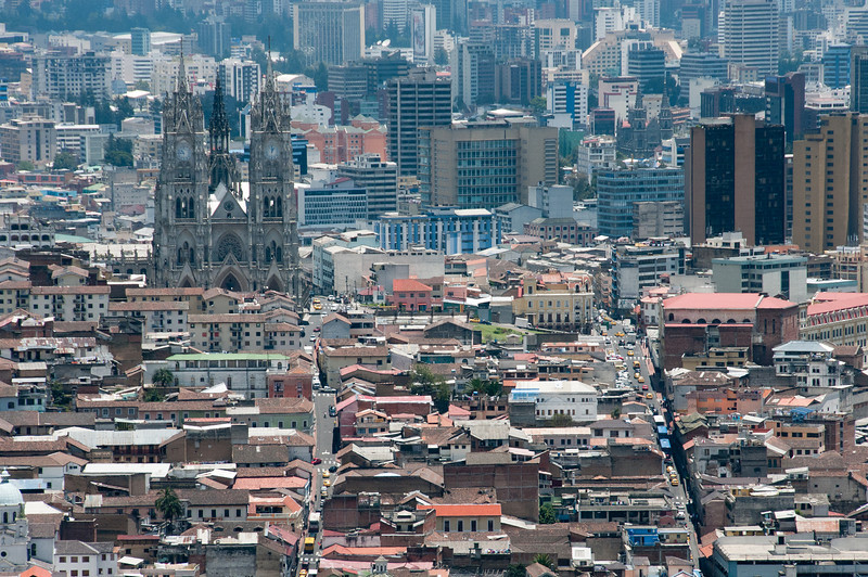 Skyline in downtown Quito, Ecuador