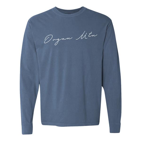 Organ Mountain Outfitters - Outdoor Apparel - Womens T-Shirt - Organ Mtn Script Long Sleeve Tee - Washed Denim 3D.jpg