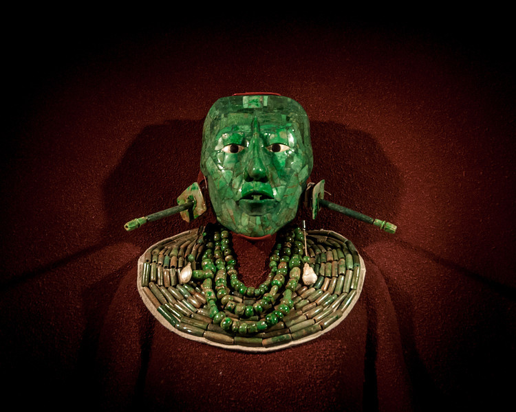 The Funerary mask of Lord Pakal. A ruler of Palenque in the Late Classic period.