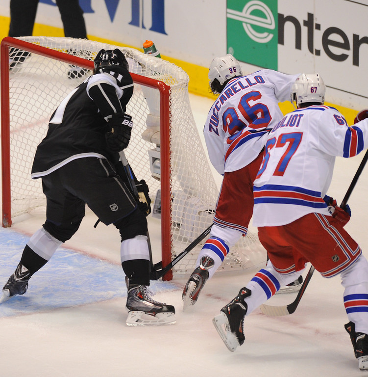 . The Rangers\' Mats Zuccarello (#36) scores in the corner of the post in the first period in game two of the Stanley Cup Final, Saturday, June 7, 2014, at Staples Center. (Photo by Michael Owen Baker/Los Angeles Daily News)