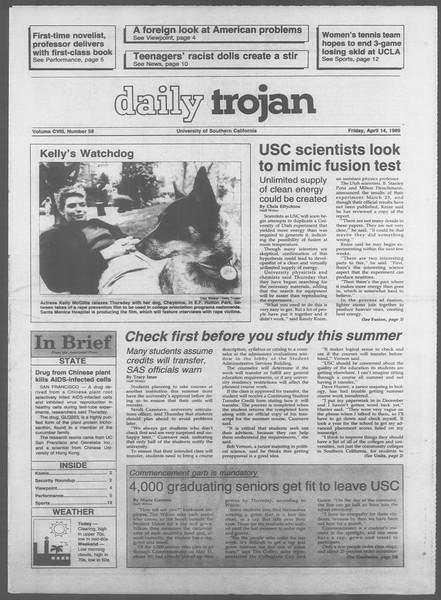 Daily Trojan, Vol. 108, No. 58, April 14, 1989
