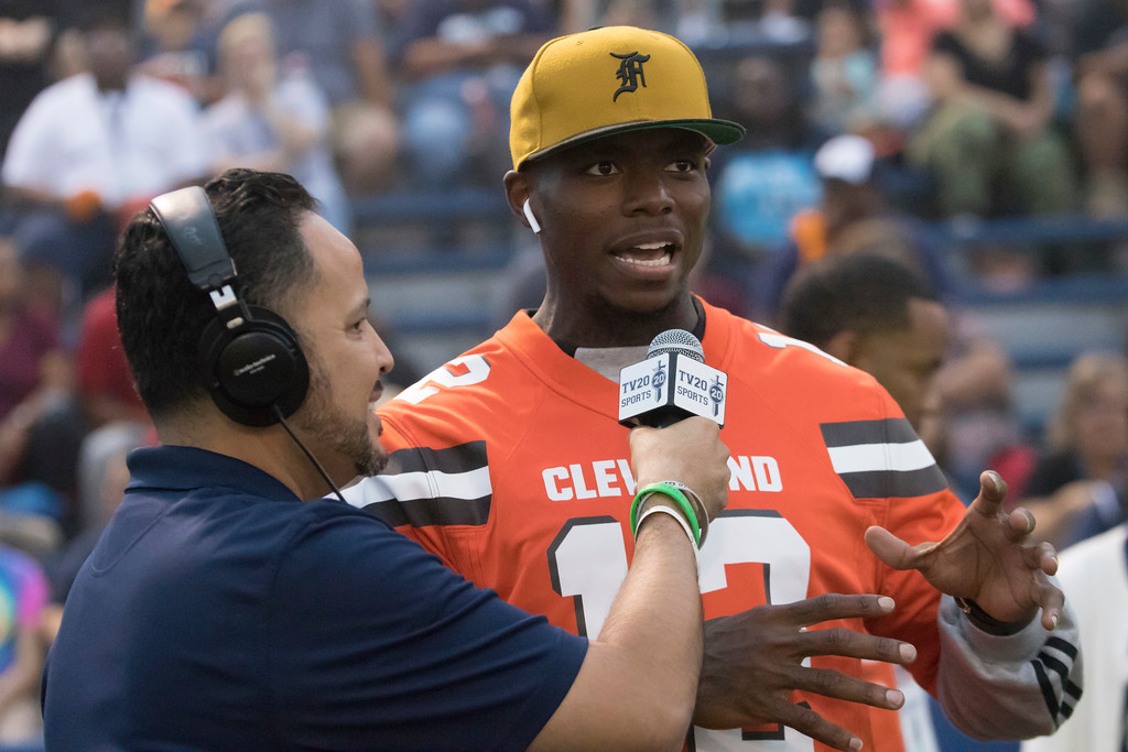 . Jen Forbus - The Morning Journal<br> Cleveland Browns wide receiver Josh Gordon answers questions for Titan TV 20 on Sept. 14.