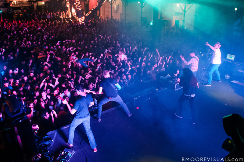 James Smith, Grant Brandell, Spencer Chamberlain, Timothy McTague, and Christopher Dudley of Underoath perform during their final show on January 26, 2013 at Jannus Live in St. Petersburg, Florida