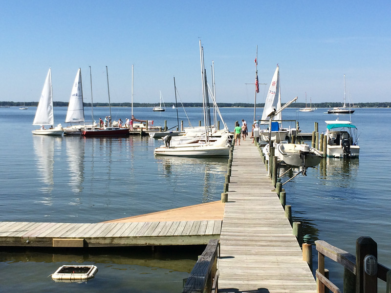 5/25 FBYC Piankatank Regatta Spring Series 3 at the dock waiting for wind.