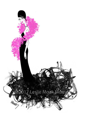 Chic Young Woman in a Black Evening Gown