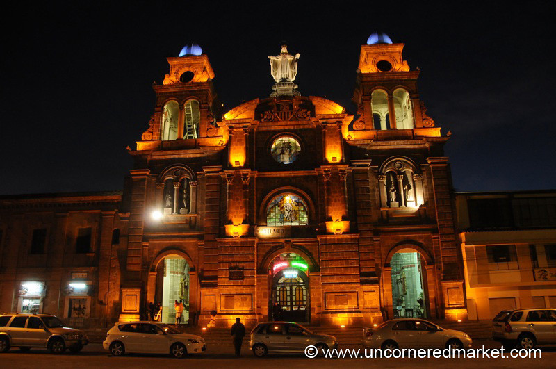 La Merced at Night - Ibarra, Ecuador