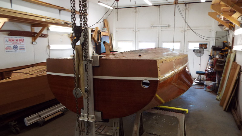 Rear view of the boat up side down.