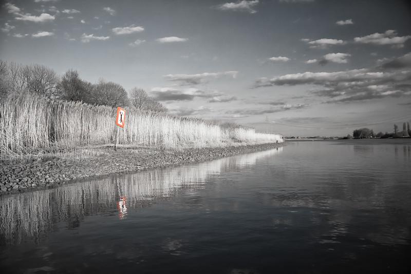 Elbe in Schwarzweiß bei Bunthäuser Spitze