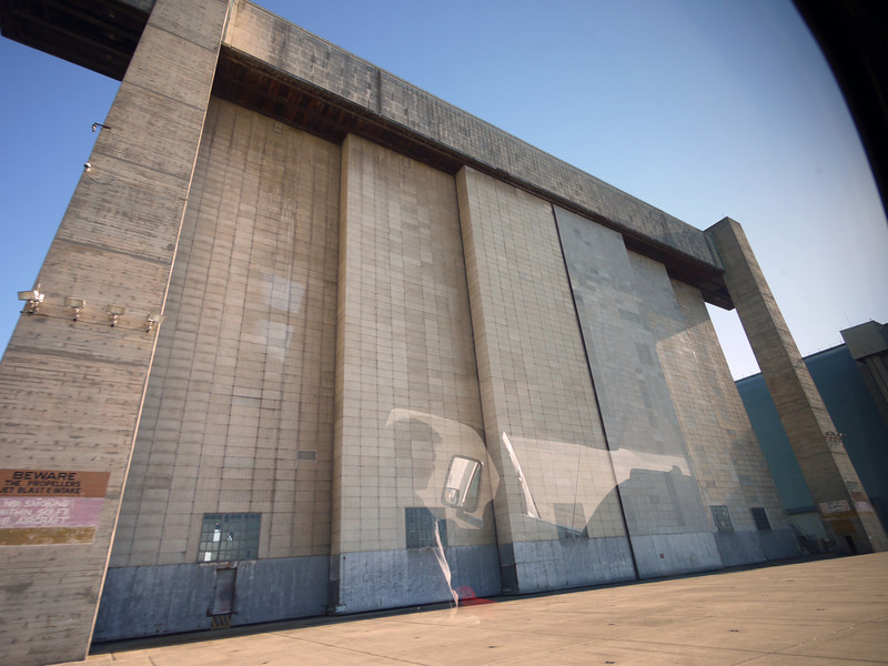 "The closed ""pocket"" doors on hangar 3."