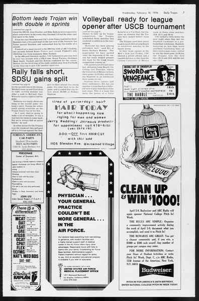 Daily Trojan, Vol. 68, No. 75, February 18, 1976