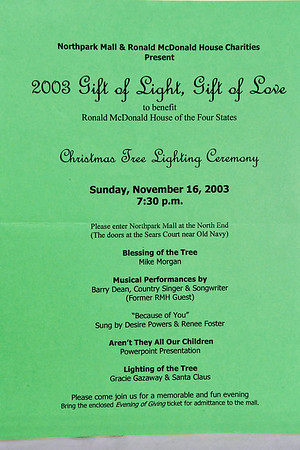 11-16-2003 Ronald McDonald House Gift of Light & Love