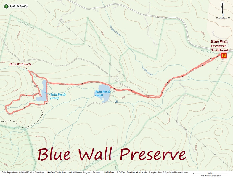 Blue Wall Preserve Hike Route Map