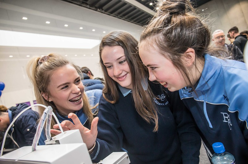 Lauren Kervick, Heather Kelly and Megan White, Ramsgrange Community College, Wexford during the Waterford Institute of Technology Schools' Open Day at the WIT Arena. On Saturday, 20 January, WIT is running another open day, the #StudyatWIT Open Day which will have information available on all courses available across WIT's schools of Lifelong Learning, Humanities, Engineering, Science & Computing, Health Sciences, Business. Picture: Pat Moore