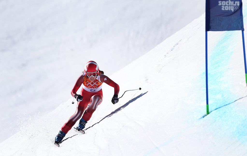. Dominique Gisin of Switzerland in action during the Women\'s Downhill race at the Rosa Khutor Alpine Center during the Sochi 2014 Olympic Games, Krasnaya Polyana, Russia, 12 February 2014.  EPA/KARL-JOSEF HILDENBRAND