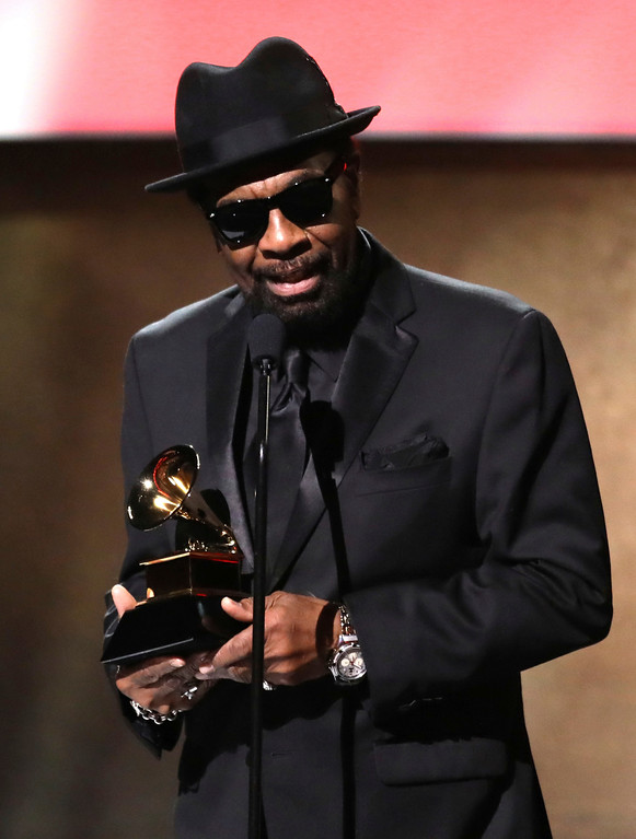 ". William Bell accepts the award for best americana album for ""This Is Where I Live\"" at the 59th annual Grammy Awards on Sunday, Feb. 12, 2017, in Los Angeles. (Photo by Matt Sayles/Invision/AP)"