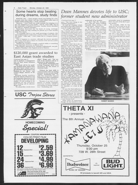 Daily Trojan, Vol. 97, No. 35, October 22, 1984