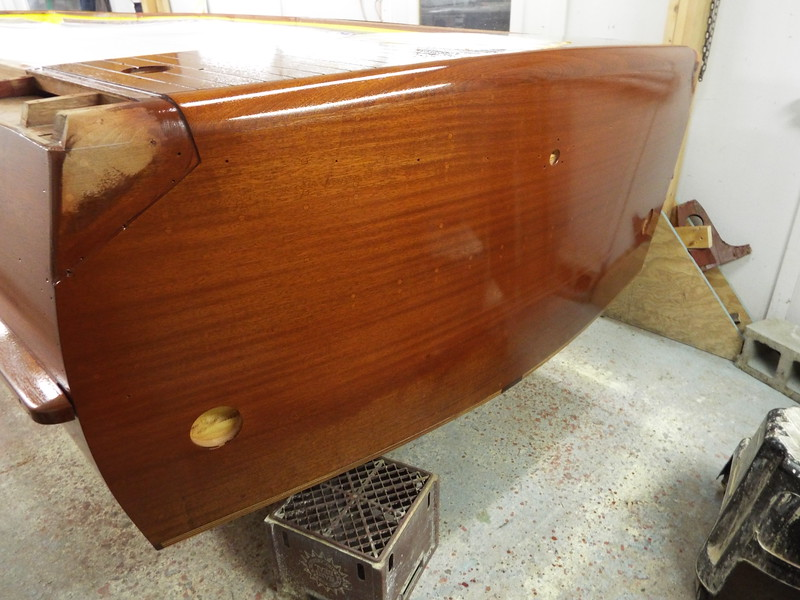 Transom with one coat of sealer.