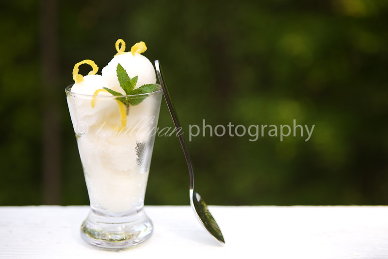 Limoncello and mint sorbet