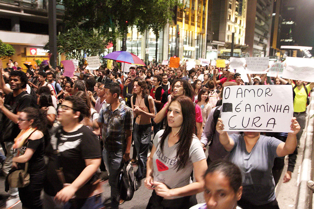 . Members of the LGBT community join the protest on Paulista Avenue in Sao Paulo, Brazil on June 21, 2013.  AFP PHOTO / Daniel  GUIMARAES/AFP/Getty Images