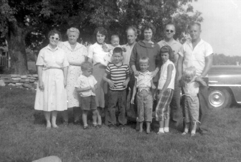 Foote family:  Reu (Bill Jr.'s wife), Ella, Dorothy holding Laurie, Bill, Irene(Rod's wife), Bill Jr., Rod. Stanley & Darrel (Dorothy's sons), Debbie (Rod's daughter), Judy (Dorothy's daughter) and Vickie (Rod's daughter).